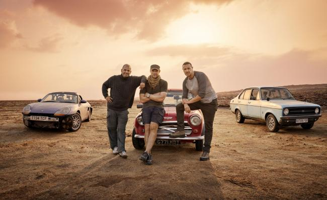 Chris Harris, Paddy McGuinness and Andrew Flintoff, the new hosts of BBC 2's Top Gear