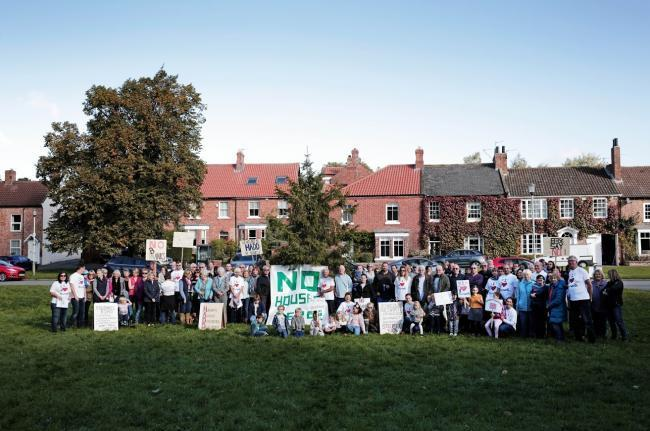 One of the protests three years ago against a development of new homes in Hurworth.